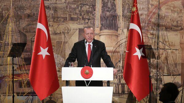 Президент Турции Реджеп Тайип Эрдоган во время пресс-конференции в Стамбуле