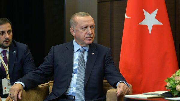 Президент Турции Реджеп Тайип Эрдоган во время встречи с президентом РФ Владимиром Путиным