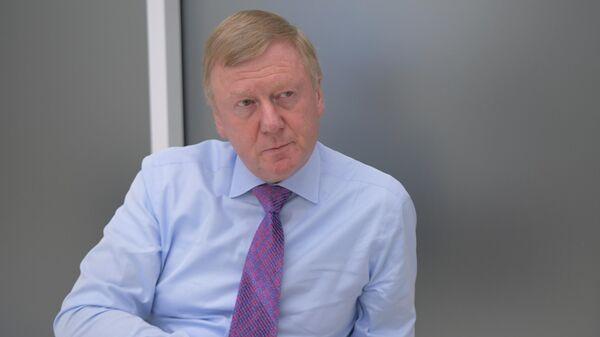 Председатель правления УК Роснано Анатолий Чубайс во время интервью на Московском международном форуме Открытые инновации