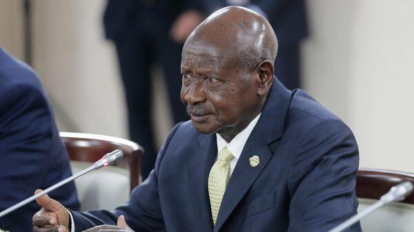 Президент Республики Уганда Йовери Кагута Мусевени во время встречи с президентом РФ Владимиром Путиным на полях саммита Россия - Африка