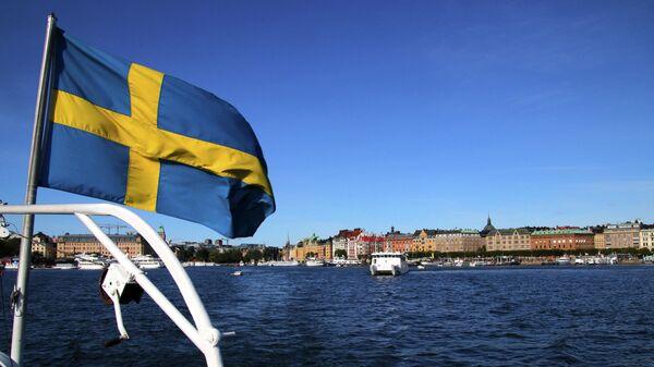 Флаг Швеции в Стокгольме