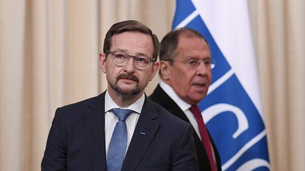 Генеральный секретарь ОБСЕ Томас Гремингер на пресс-конференции по итогам встречи с министром иностранных дел РФ Сергеем Лавровым в Москве