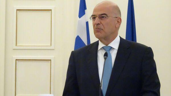 Никос Дендиас во время встречи с Исраэлем Кацем в Греции