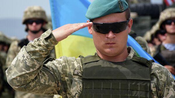Военнослужащий армии Украины на открытии международных военных учений Достойный партнер-2018 под эгидой НАТО в Грузии