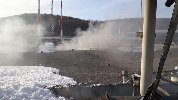Тушение пожара на нефтебазе Грушовая в Новороссийске Краснодарского края