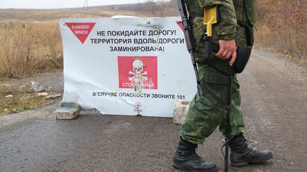 Сапер Народной милиции ДНР перед началом отвода подразделений из участка возле села Петровское