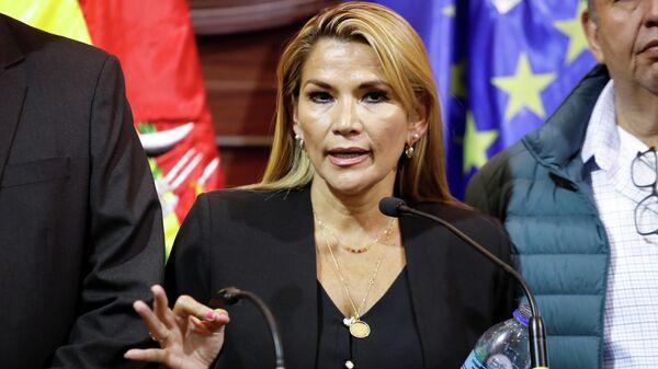 Оппозиционный сенатор Жанин Аньес, исполняющая обязанности президента Боливии после отставки Эво Моралеса, во время пресс-конференции в Ла-Пасе
