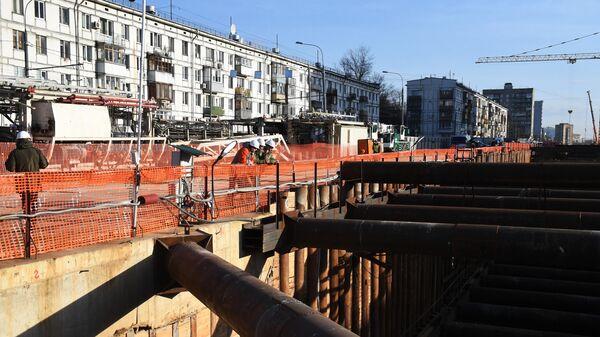 Строительство станции метро Зюзино Большой кольцевой линии Московского метрополитена