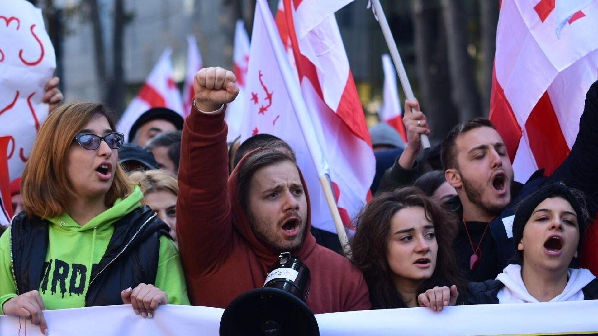 Участники акции протеста в Тбилиси против правящих властей. 17 ноября 2019 - РИА Новости, 1920, 31.07.2021