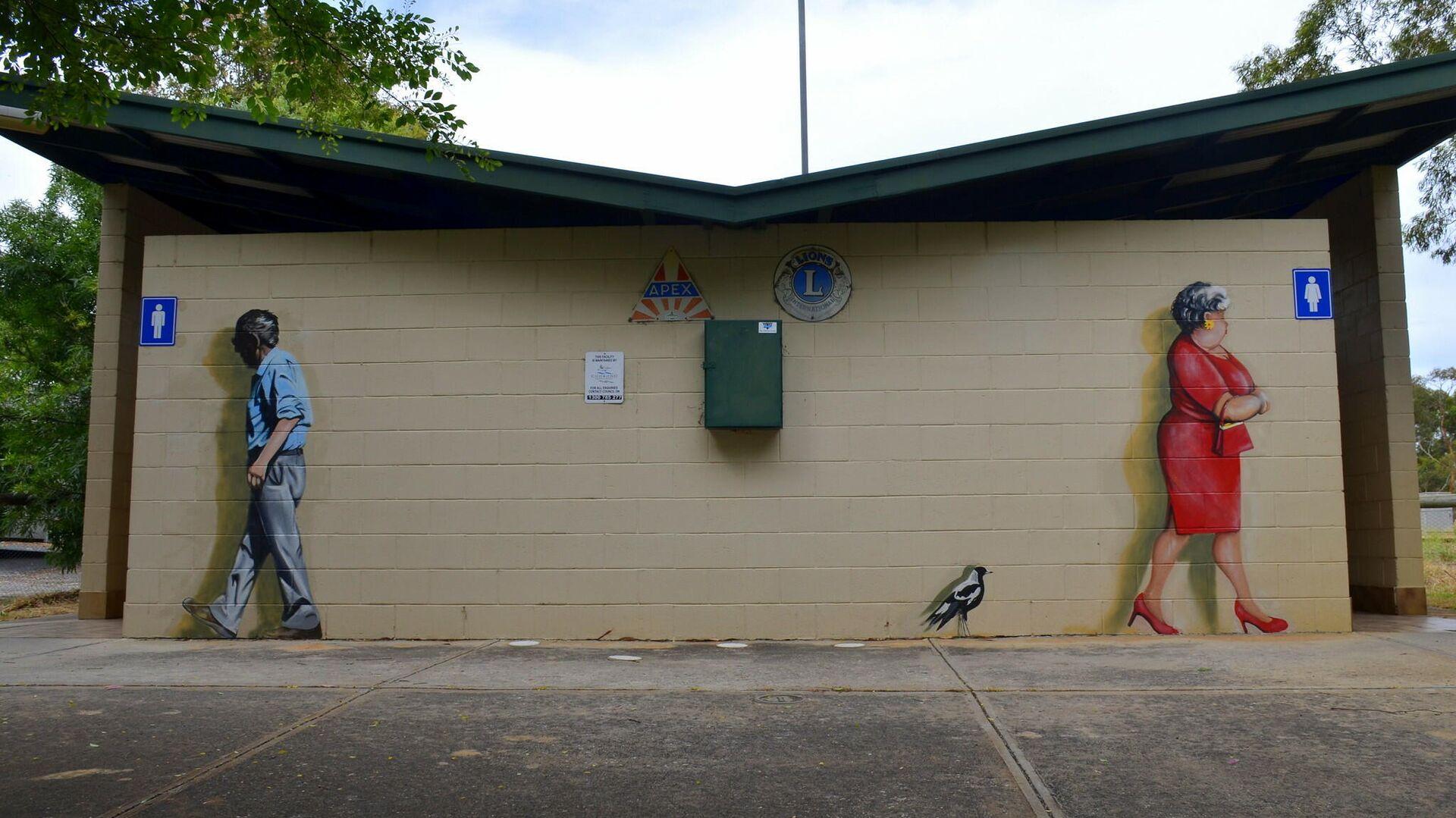 Общественный туалет с граффити в Австралии - РИА Новости, 1920, 19.11.2019