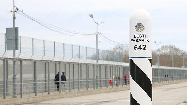 Пограничный столб на эстонско-российской границе в Нарве