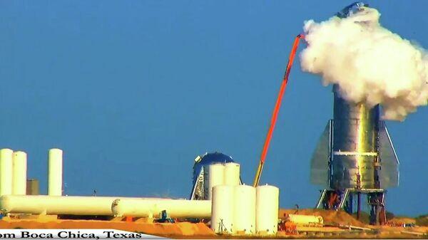 Взрыв ракеты-корабля компании SpaceX Илона Маска Starship во время испытаний на герметичность. 20 ноября 2019