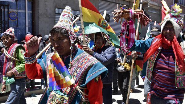 Сторонники экс-президента Боливии Эво Моралеса во время акции протеста в Эль-Альто. 20 ноября 2019