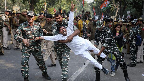 Во время протеста в Нью-Дели
