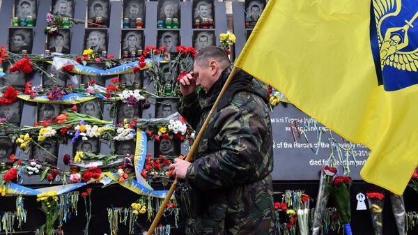 Памятные мероприятия возле мемориала Героев Небесной сотни в Киеве