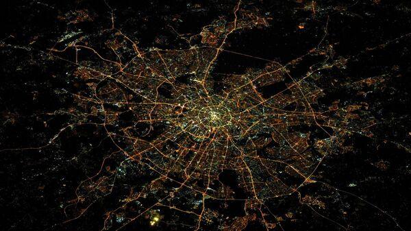 Ночная Москва с борта МКС