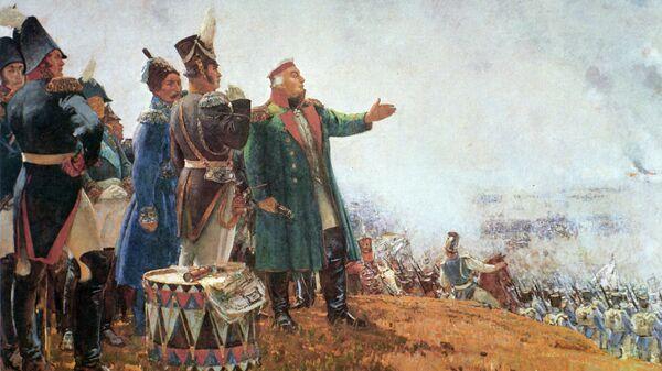 Репродукция картины художника Сергея Герасимова М. И. Кутузов на Бородинском поле