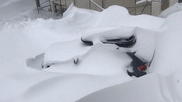 Последствия снегопада в Шерегеше
