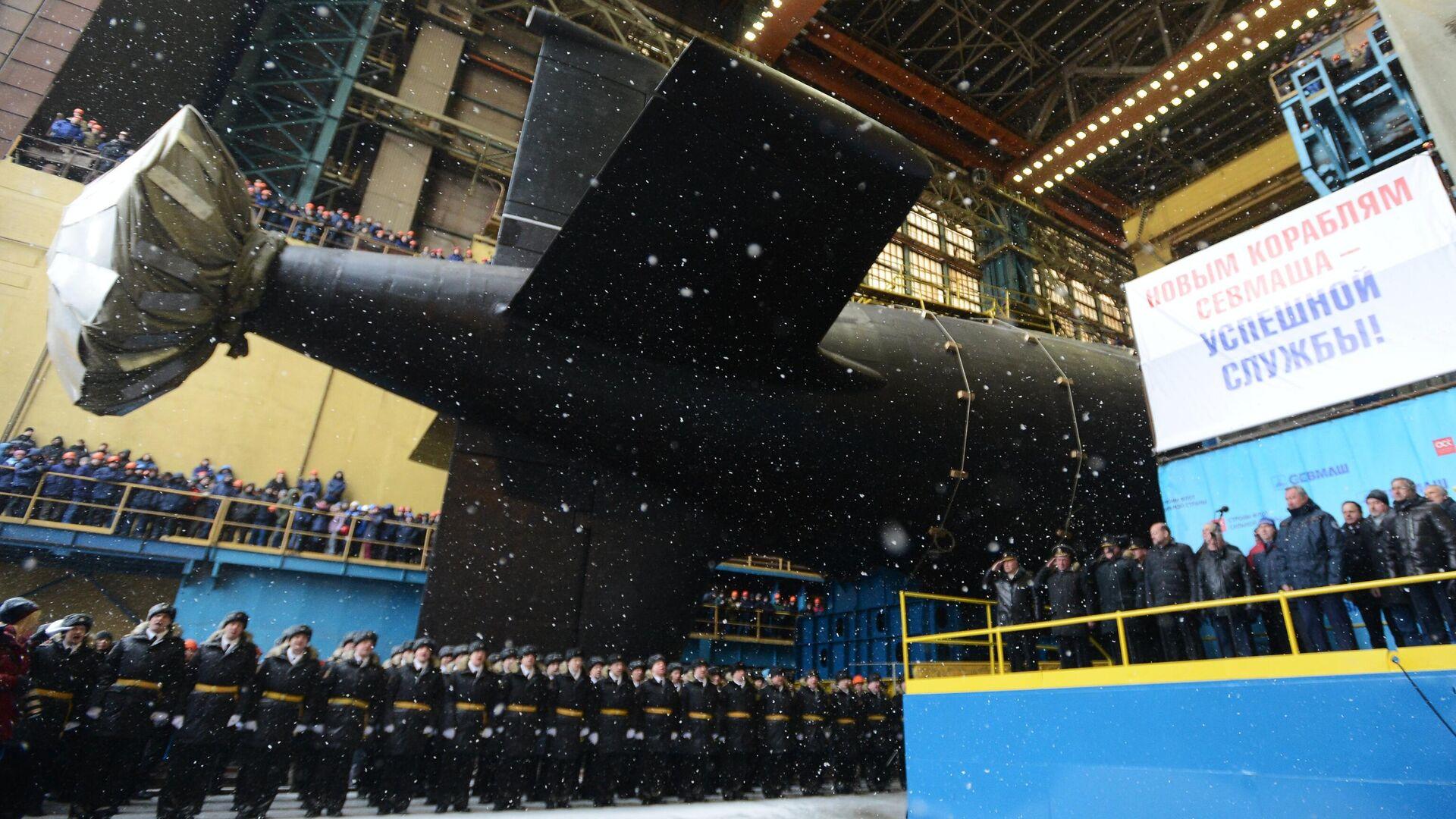 Торжественная церемония спуска на воду атомного подводного крейсера Казань ВМФ России - РИА Новости, 1920, 30.11.2020
