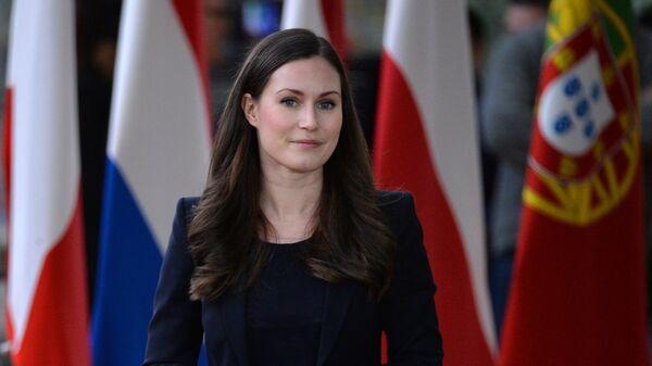 Премьер-министр Финляндии Санна Марин на саммите глав государств и правительств Евросоюза в Брюсселе