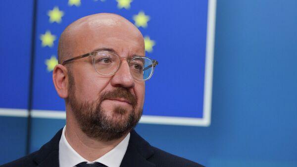 Глава Европейского совета Шарль Мишель на саммите глав государств и правительств Евросоюза в Брюсселе