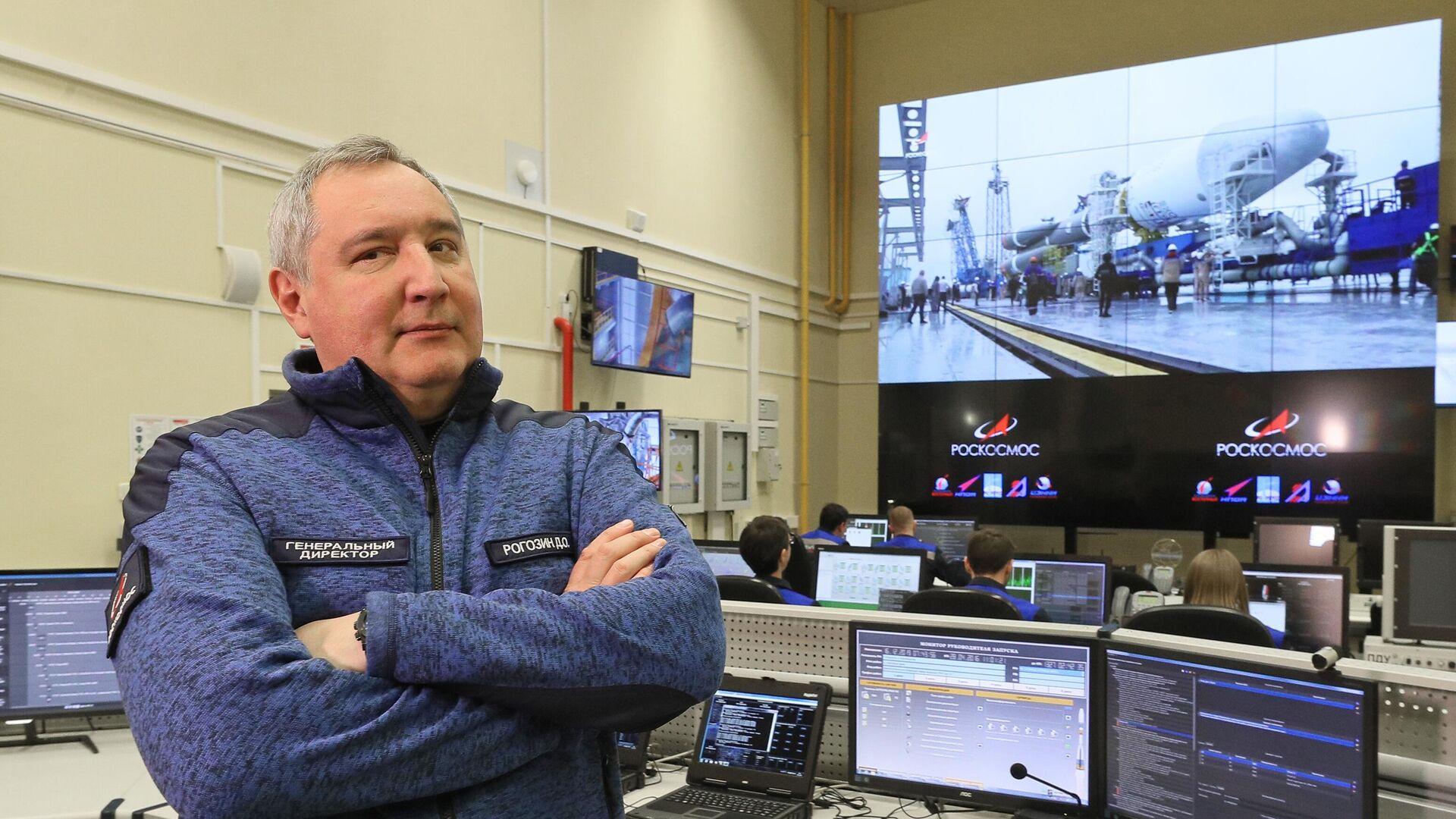 Генеральный директор госкорпорации Роскосмос Дмитрий Рогозин в командном пункте обслуживания стартового комплекса РН Союз-2 на космодроме Восточный  - РИА Новости, 1920, 07.08.2020