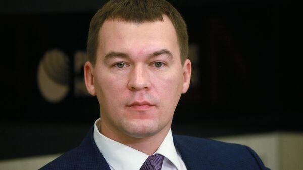 Председатель комитета Государственной Думы РФ по физической культуре, спорту, туризму и делам молодежи Михаил Дегтярев на пресс-конференции.