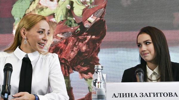 Татьяна Навка и Алина Загитова на пресс-конференции, посвященной премьере мюзикла на льду Спящая красавица. Легенда двух королевств