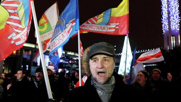 Митинг  против тесной интеграции с Россией, в Минске, Беларусь. 20 декабря 2019