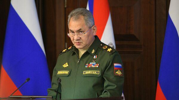 Министр обороны России Сергей Шойгу выступает на ежегодном расширенном заседании коллегии министерства обороны