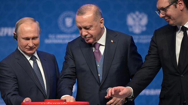 Президент России Владимир Путин, президент Турции Реджеп Тайип Эрдоган и президент Сербии Александр Вучич на церемонии официального открытия газопровода Турецкий поток в Стамбуле