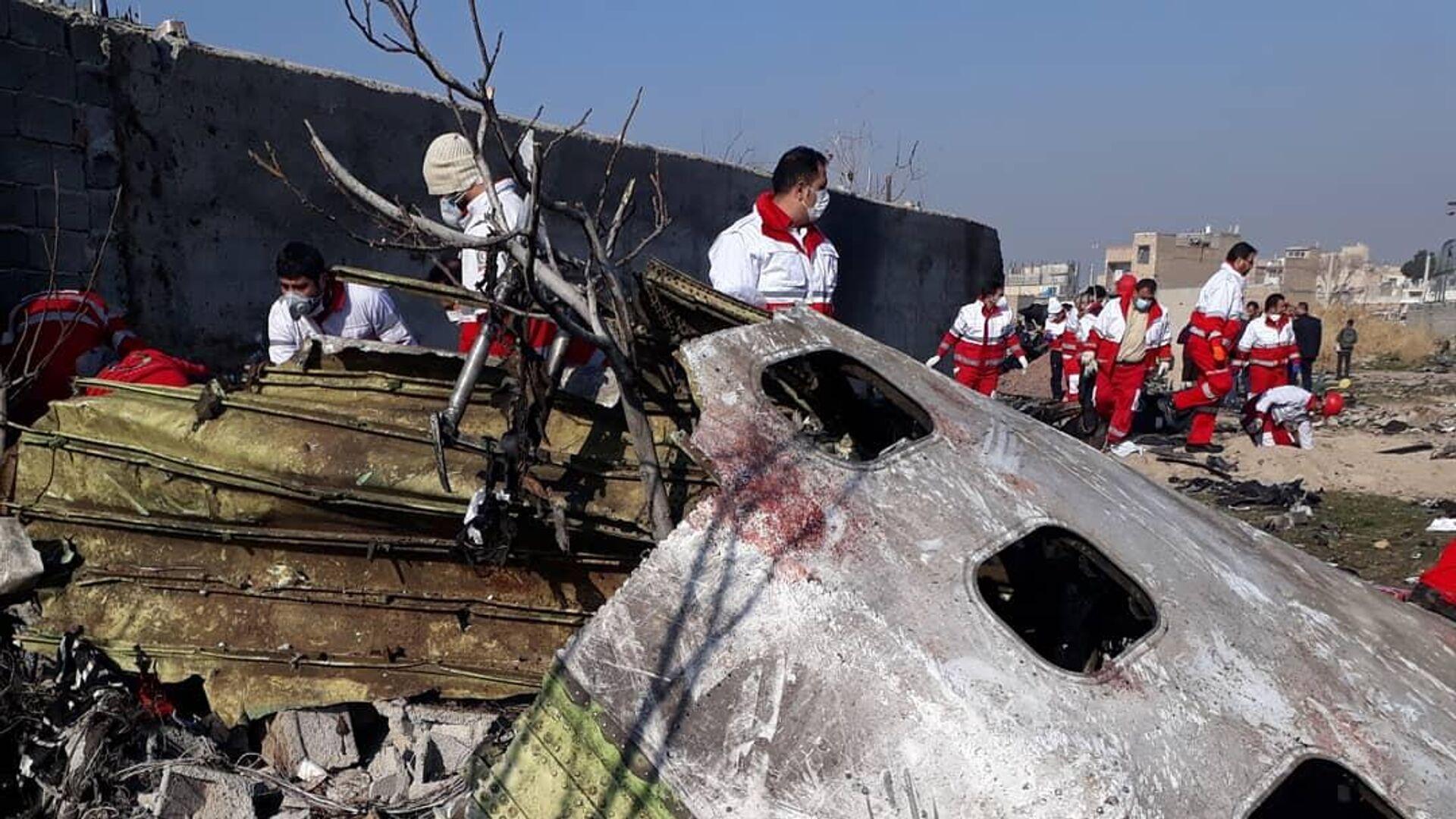 На месте крушения пассажирского лайнера Украины Boeing 737-800 неподалеку от тегеранского международного аэропорта имени Имама Хомейни - РИА Новости, 1920, 31.08.2020