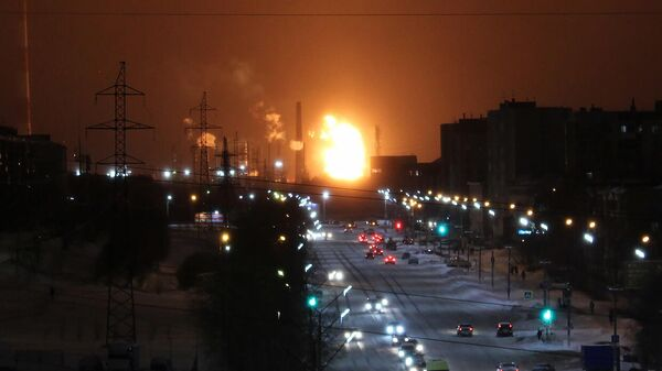 Пожар на территории нефтеперерабатывающего завода в Ухте