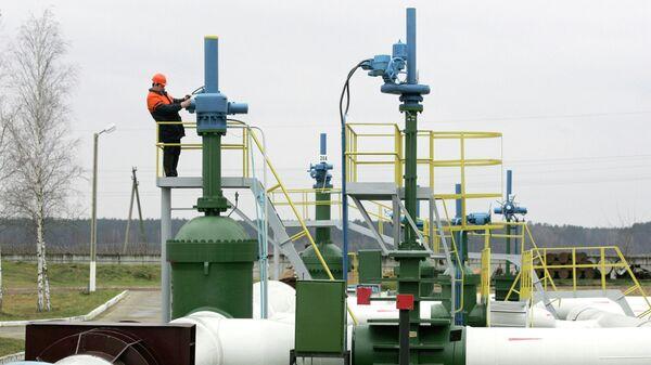 Рабочий у насосной станции трубопровода Дружба недалеко от деревни Бобовичи в Белоруссии