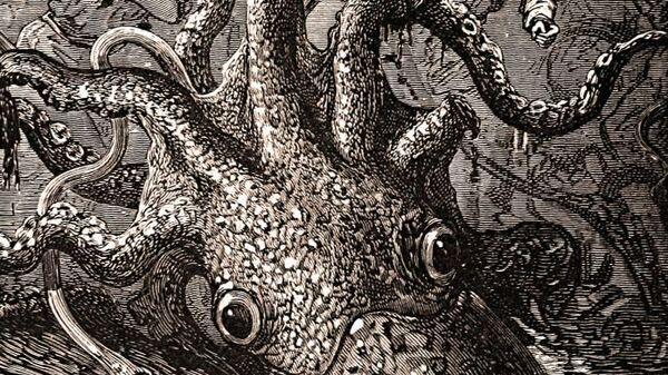 Иллюстрация из романа Жюля Верна Двадцать тысяч льё под водой