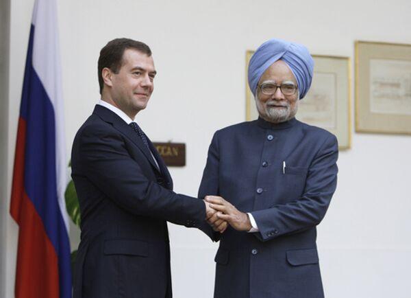 Президент России Дмитрий Медведев и премьер-министр Индии Манмохан Сингх