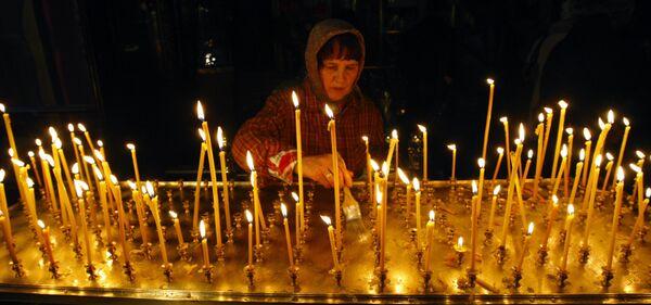 Подготовка к похоронам Патриарха Алексия II в Богоявленском кафедральном соборе