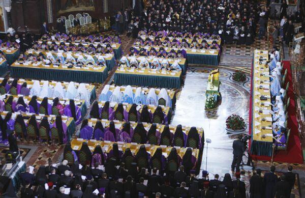 Работа Поместного Собора Русской православной церкви в Храме Христа Спасителя