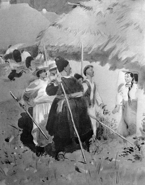 Репродукция иллюстрации Аминадава Каневского к повести Николая Гоголя Майская ночь