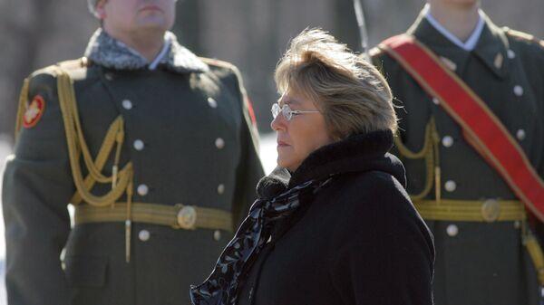Президент Чили Мишель Бачелет возложила венок к монументу Матери-Родины на Пискаревском мемориальном кладбище
