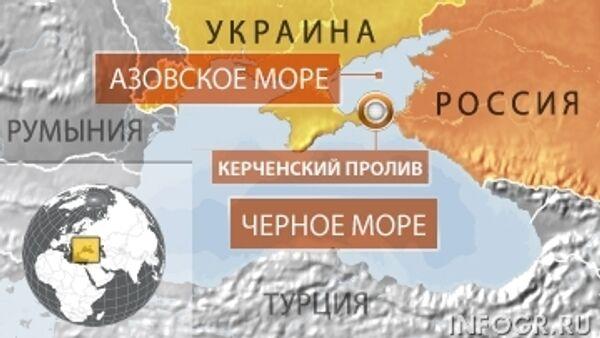 Карта границы РФ и Украины в районе Азовского и Черного морей