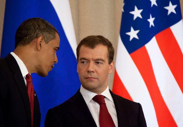 Дмитрий Медведев и Барак Обамаво время церемонии подписания совместных документов
