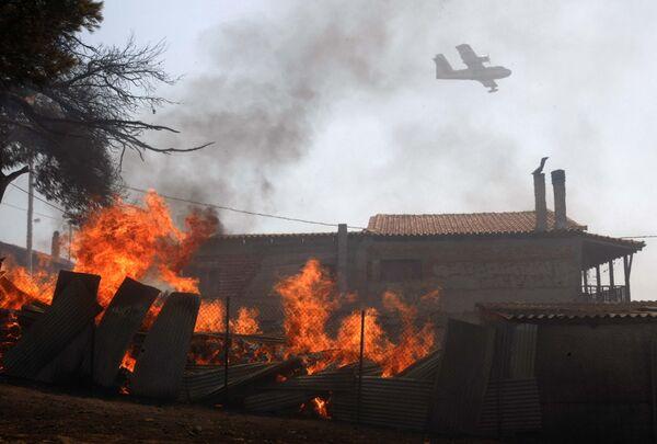Тушение лесных пожаров в Греции