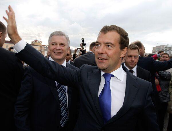 Президент РФ Дмитрий Медведев во время встречи с жителями города Улан-Удэ