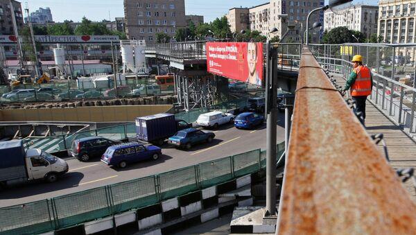 Строительство новой транспортной развязки в Москве. Архив