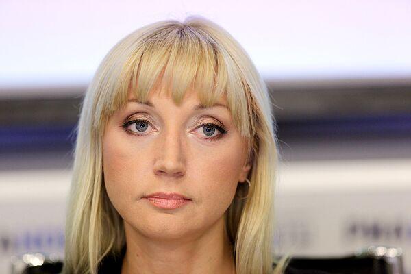 Певица Кристина Орбакайте в агентстве РИА Новости во время пресс-конференции