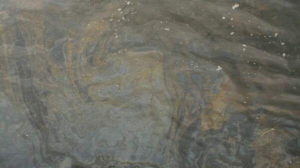 Пятно нефтепродуктов на поверхности реки Москвы выше по течению от причала Воробьевы горы