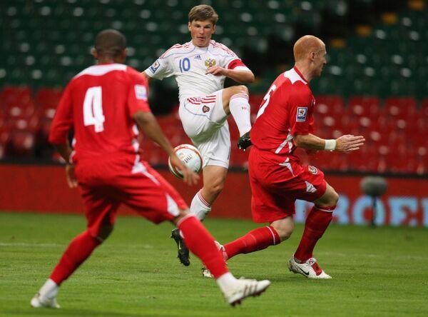 Игровой момент матча Уэльс - Россия