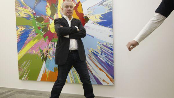 Дэмиен Херст на открытии своей выставке в Киеве