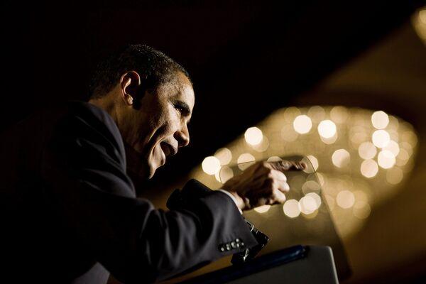 Президент США Барак Обама во время выступления